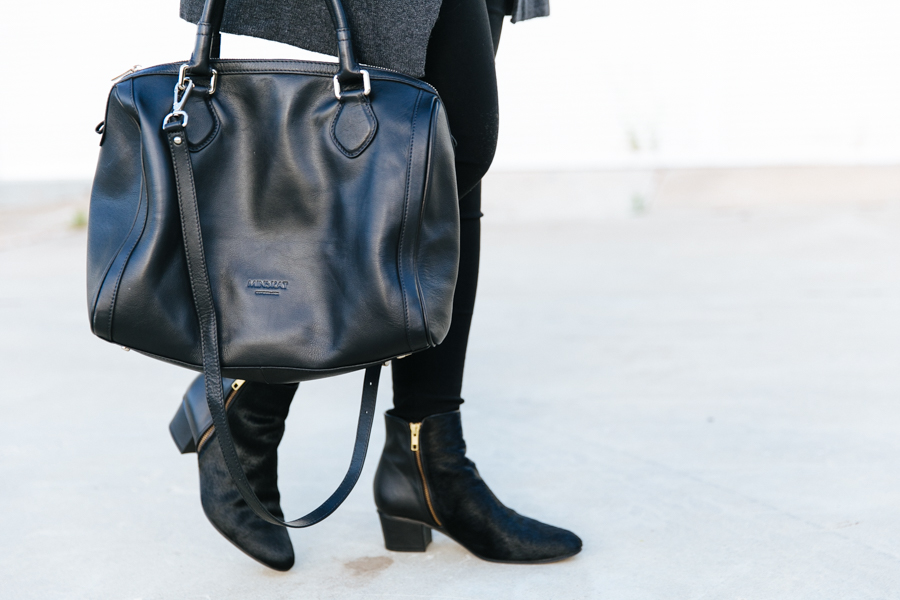 Minksat Copenhagen Mira black leather bag.