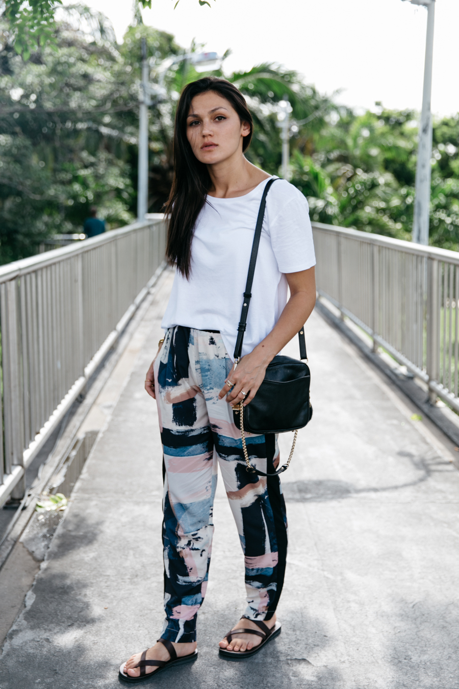 Half Thai fashion blogger. Statement print pants outfit.
