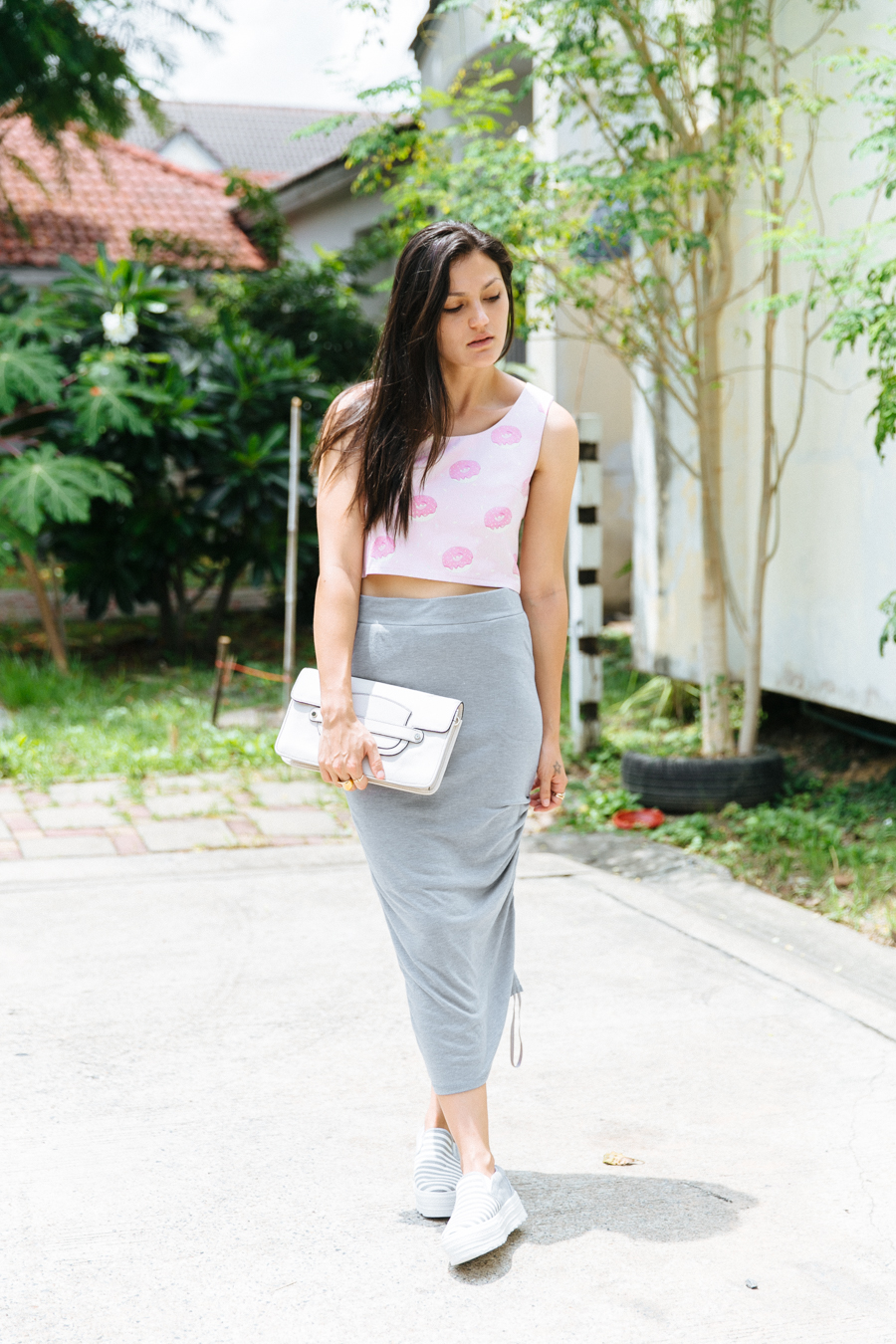 Donut print crop top & grey draped skirt.