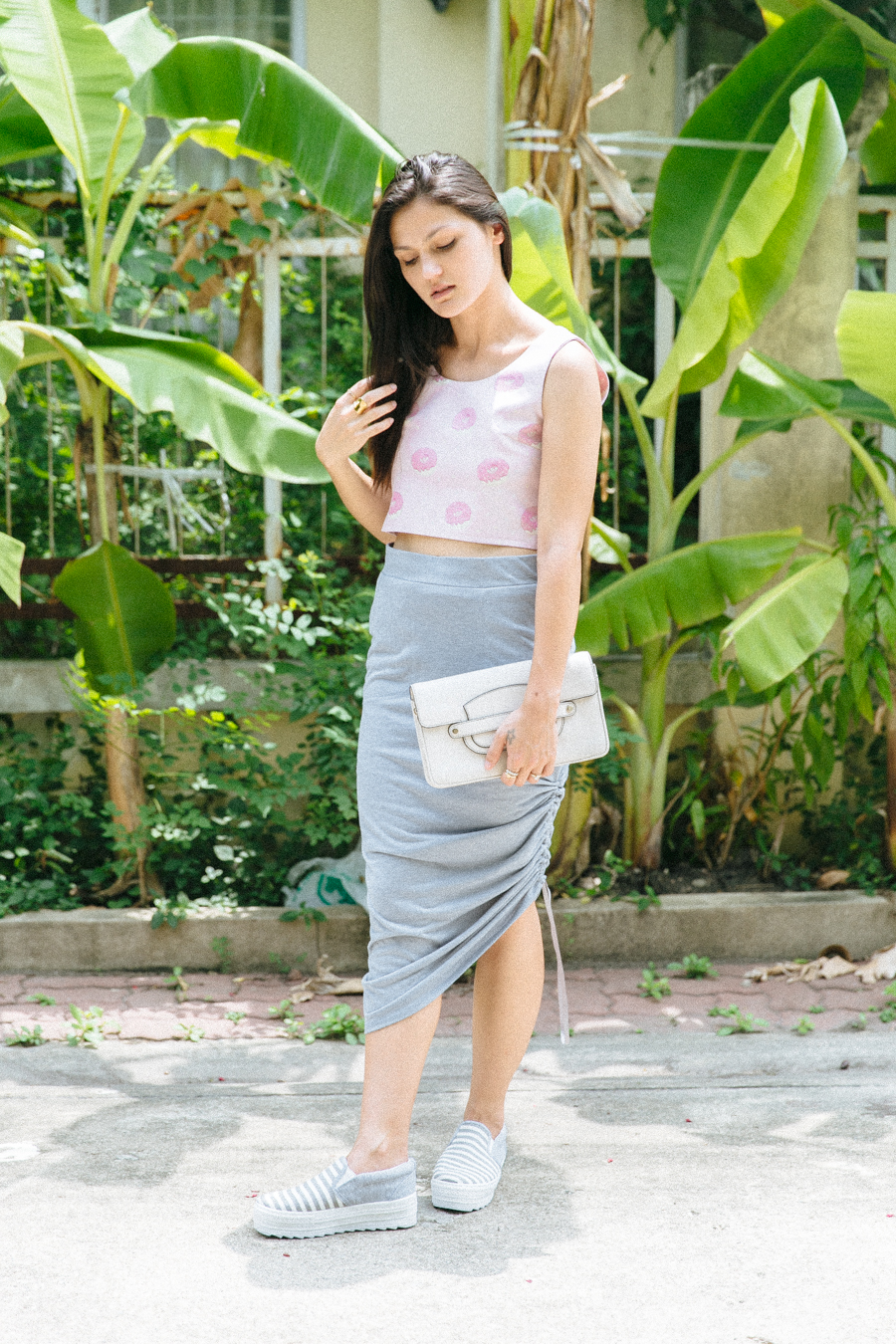 Kawaii crop top from Terminal 21 in Bangkok & grey draped skirt from POL clothing.