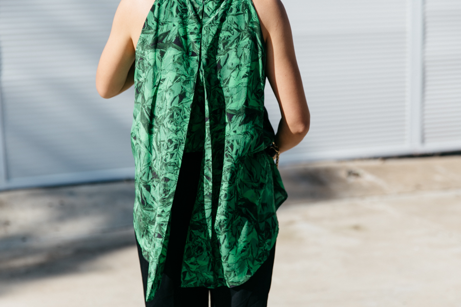 A green layered split-back dress from POL Clothing.