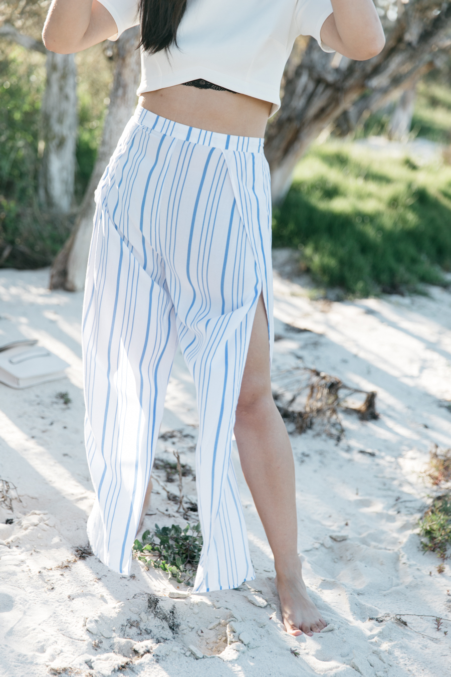 Wide leg pants for the beach.