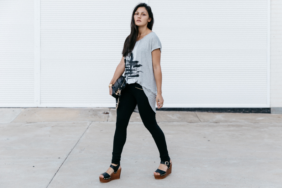 Oversized tee for a casual weekend look.