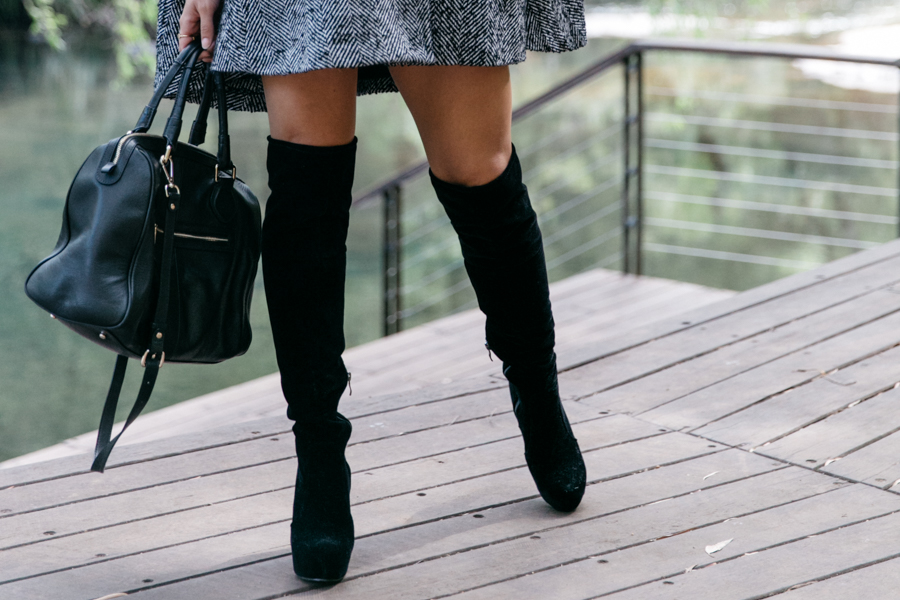 Affordable faux-suede knee high boots.