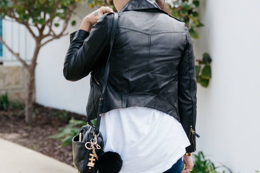 Cropped leather jacket outfit.
