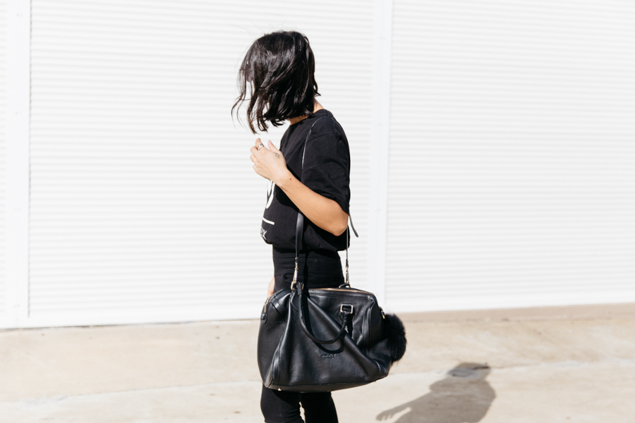 Affordable black leather bowler bag.
