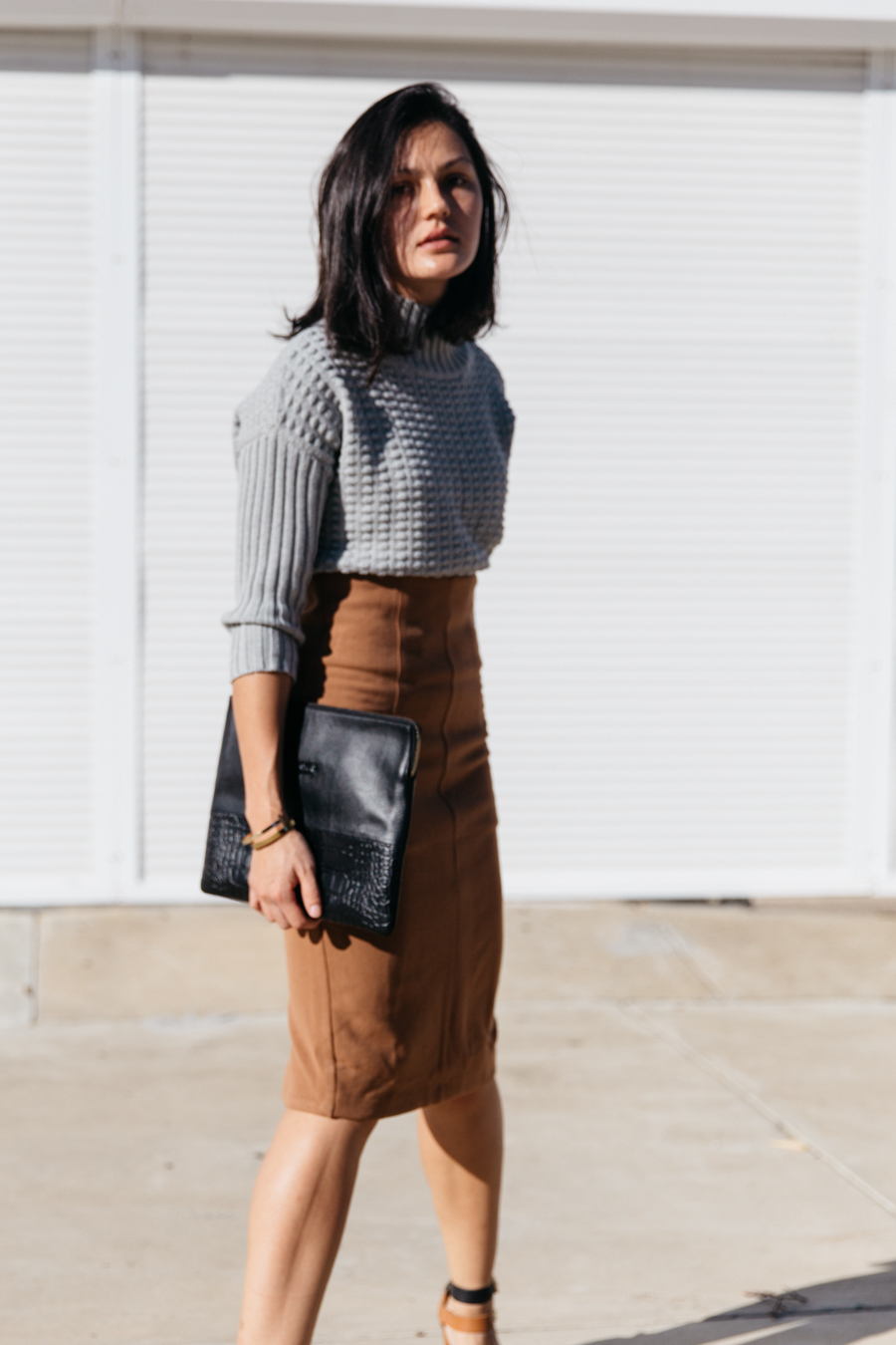 Forcast clothing blogger outfit. Why you need a brown pencil skirt.