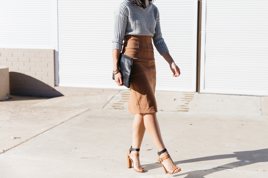 Brown skirt outfit ideas. Why you need a brown pencil skirt.