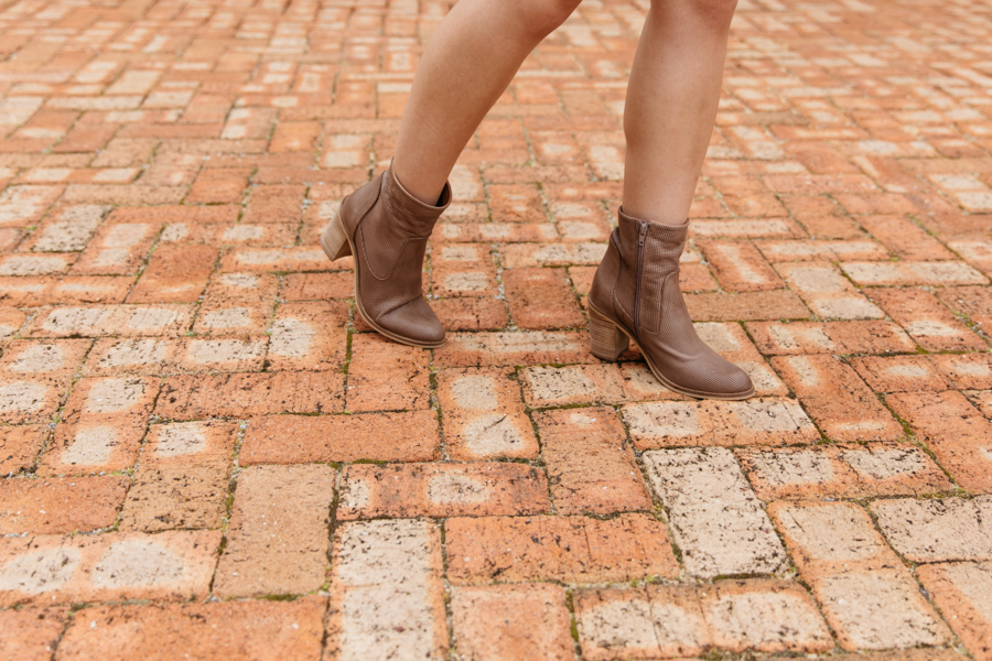 Taupe leather boots. Eos footwear blogger.