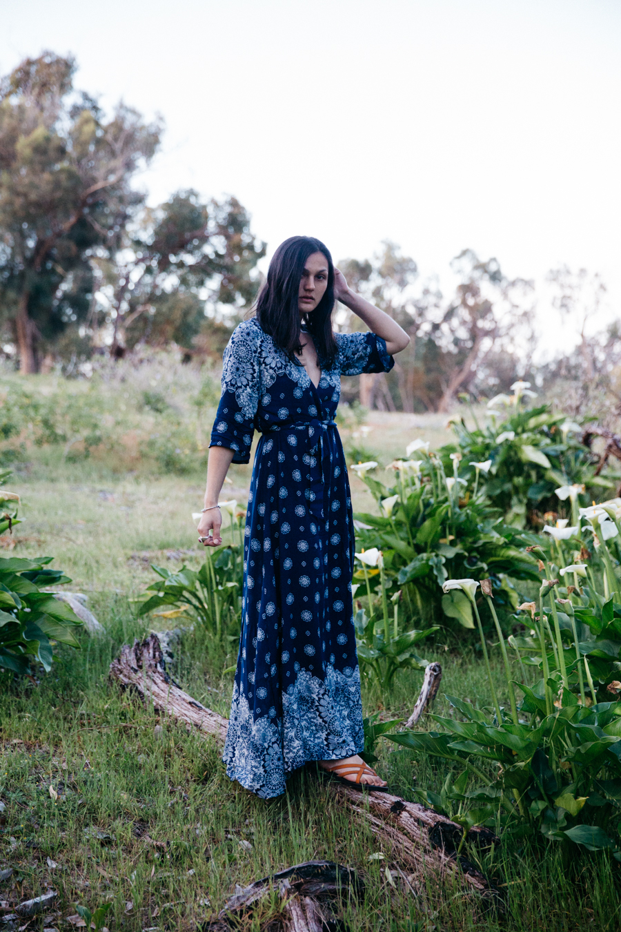Blue bohemian dress with split.