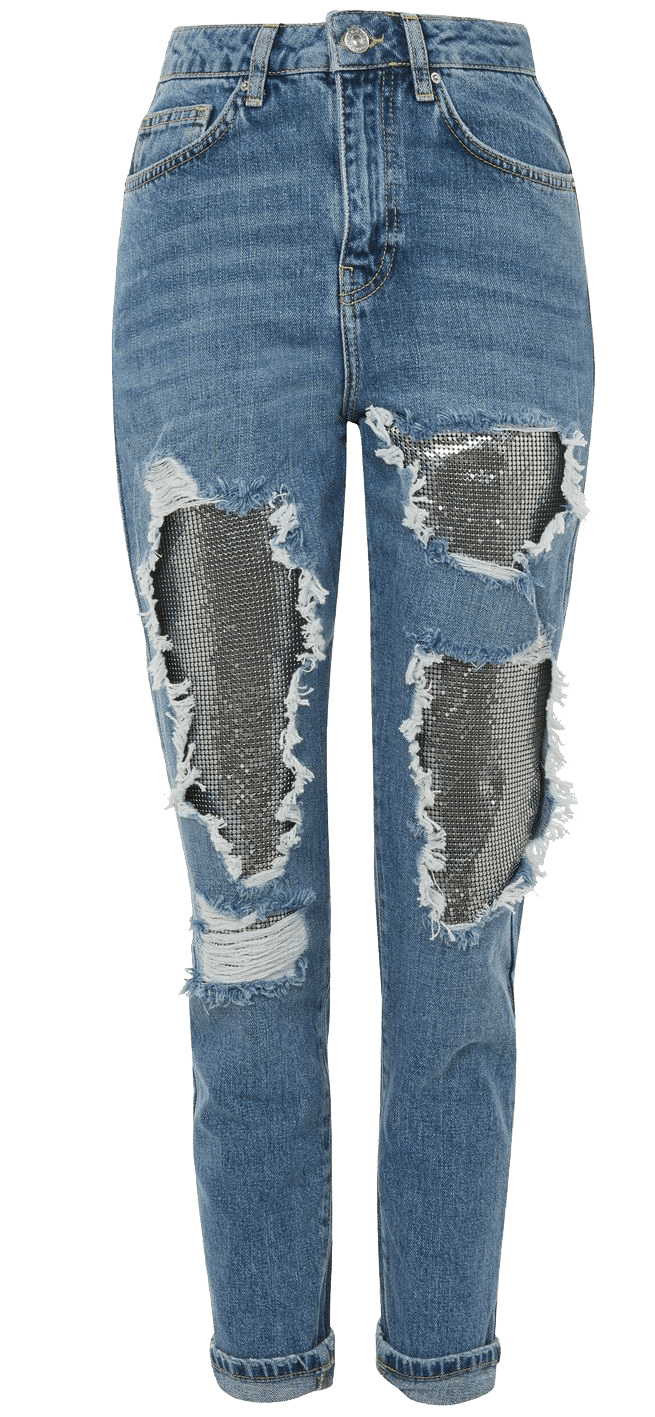 Chain detail ripped denim jeans.