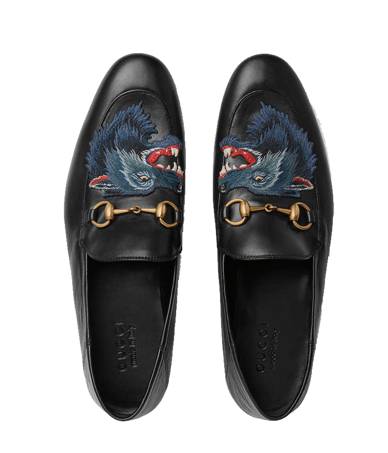 Embroidered wolf Gucci flats. Gucci loafers.