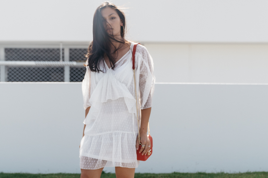 White lace summer dress outfit. White lace swing dress outfit.