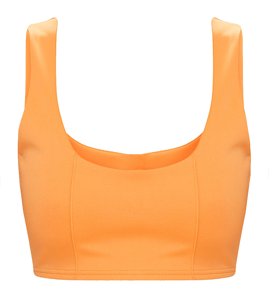 How to wear orange. Orange crop tank top.