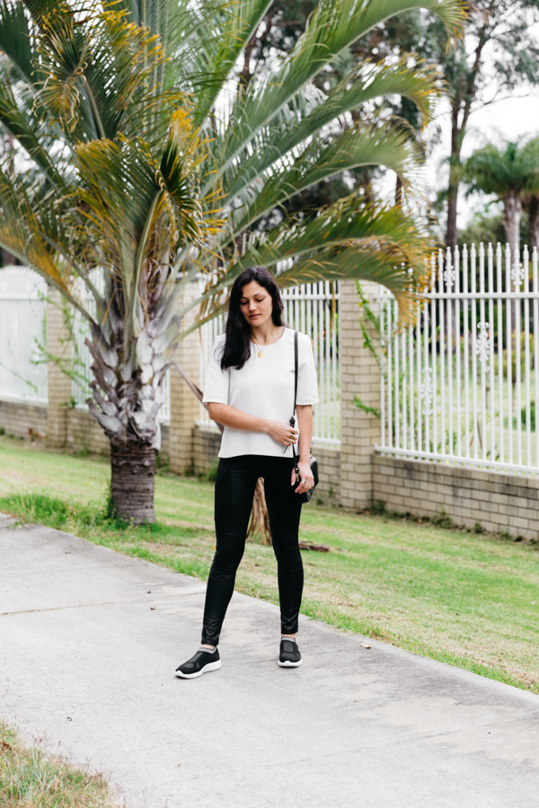 Black sneakers with white tee. Perth fashion blogger.