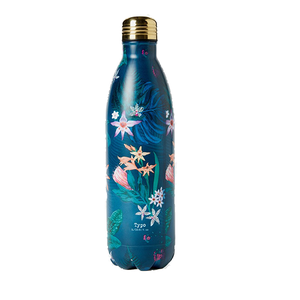 Dark floral print water bottle.
