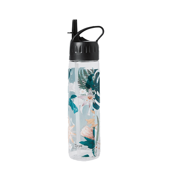 Tropical print reusable water bottle.