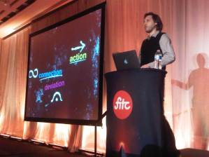 Jason Theodor presenting Create More Better Different at FITC 2012
