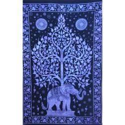 Tenture Arbre de vie Éléphant Bleu