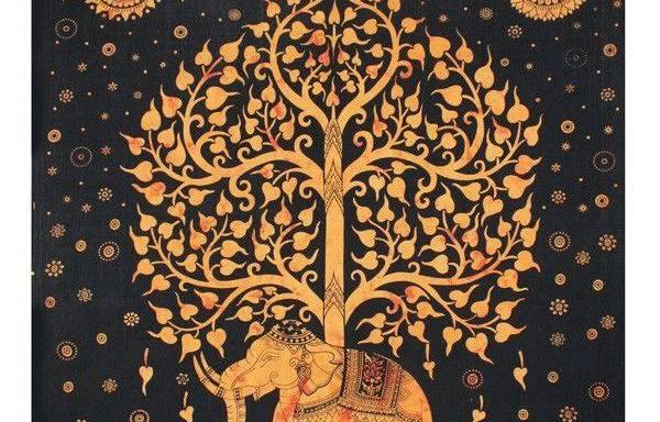 Tenture Arbre de vie Éléphant jaune