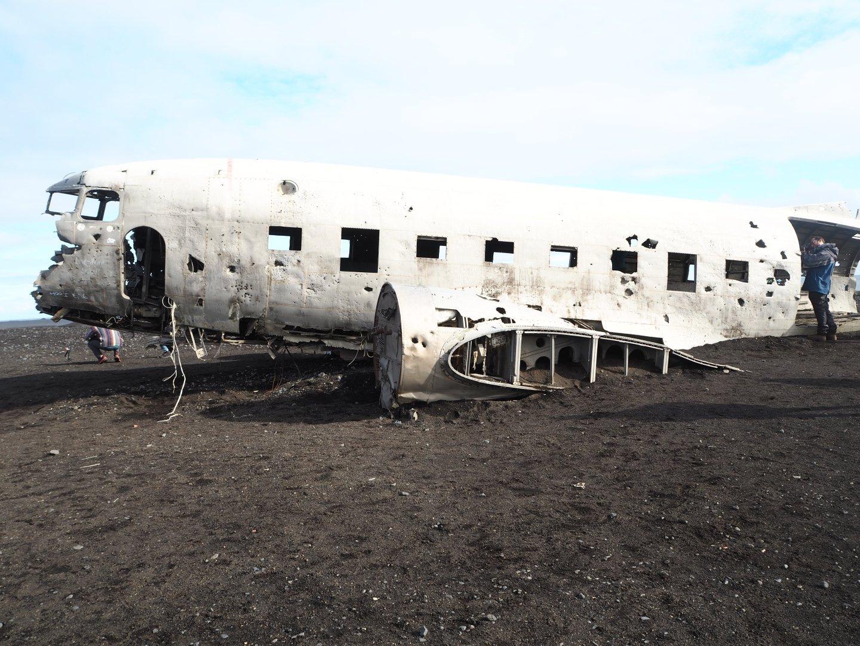 exploring the plane wreckage