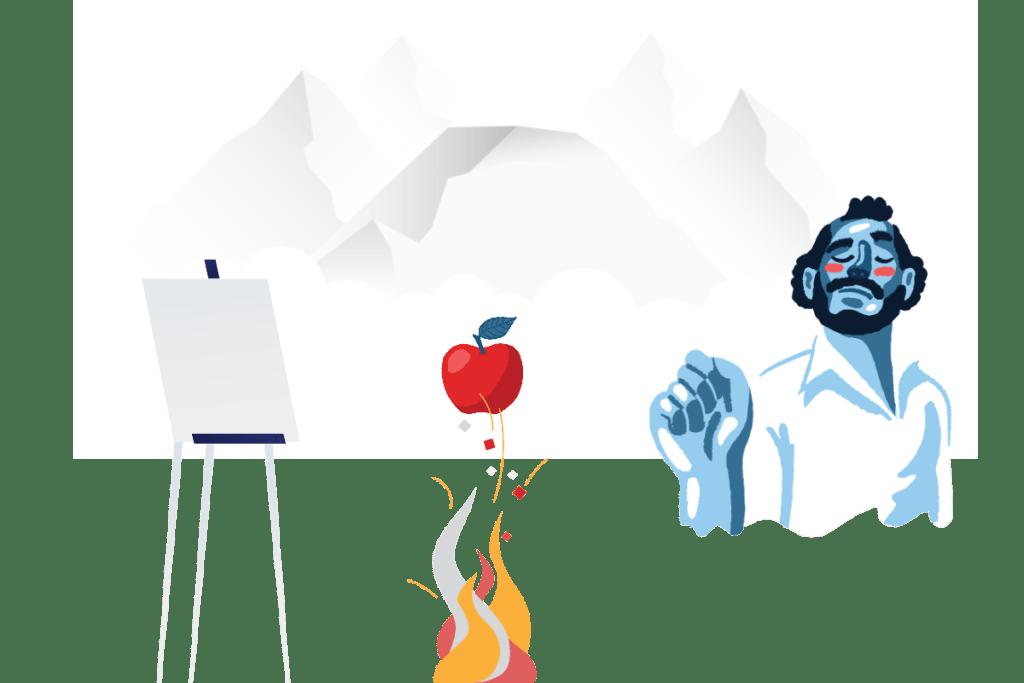 иллюстрация художник с жареным яблоком