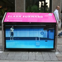 "magenta foundation: ""flash forward"" recycling bins."