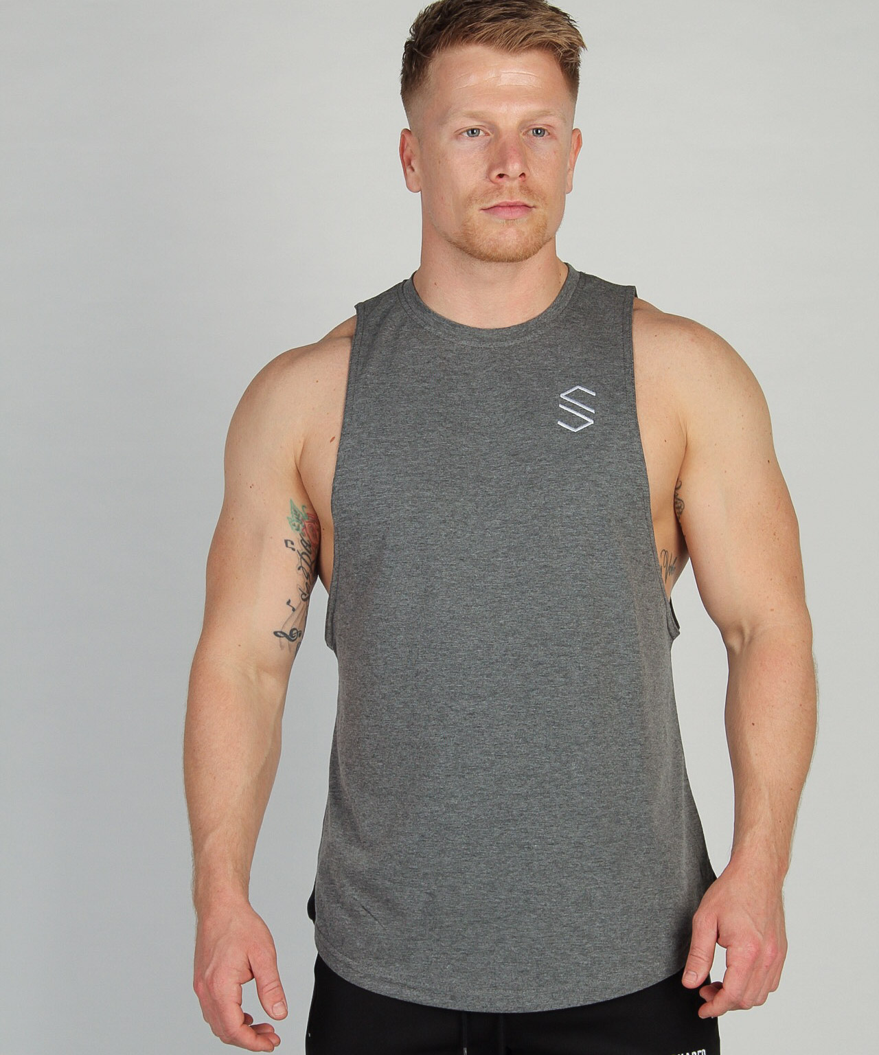 Shaped Split Cut Off T-Shirt - Grijs