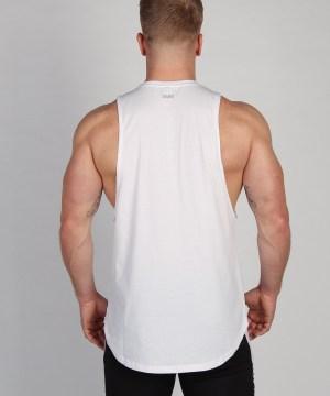Shaped Split Cut Off T-Shirt - Wit