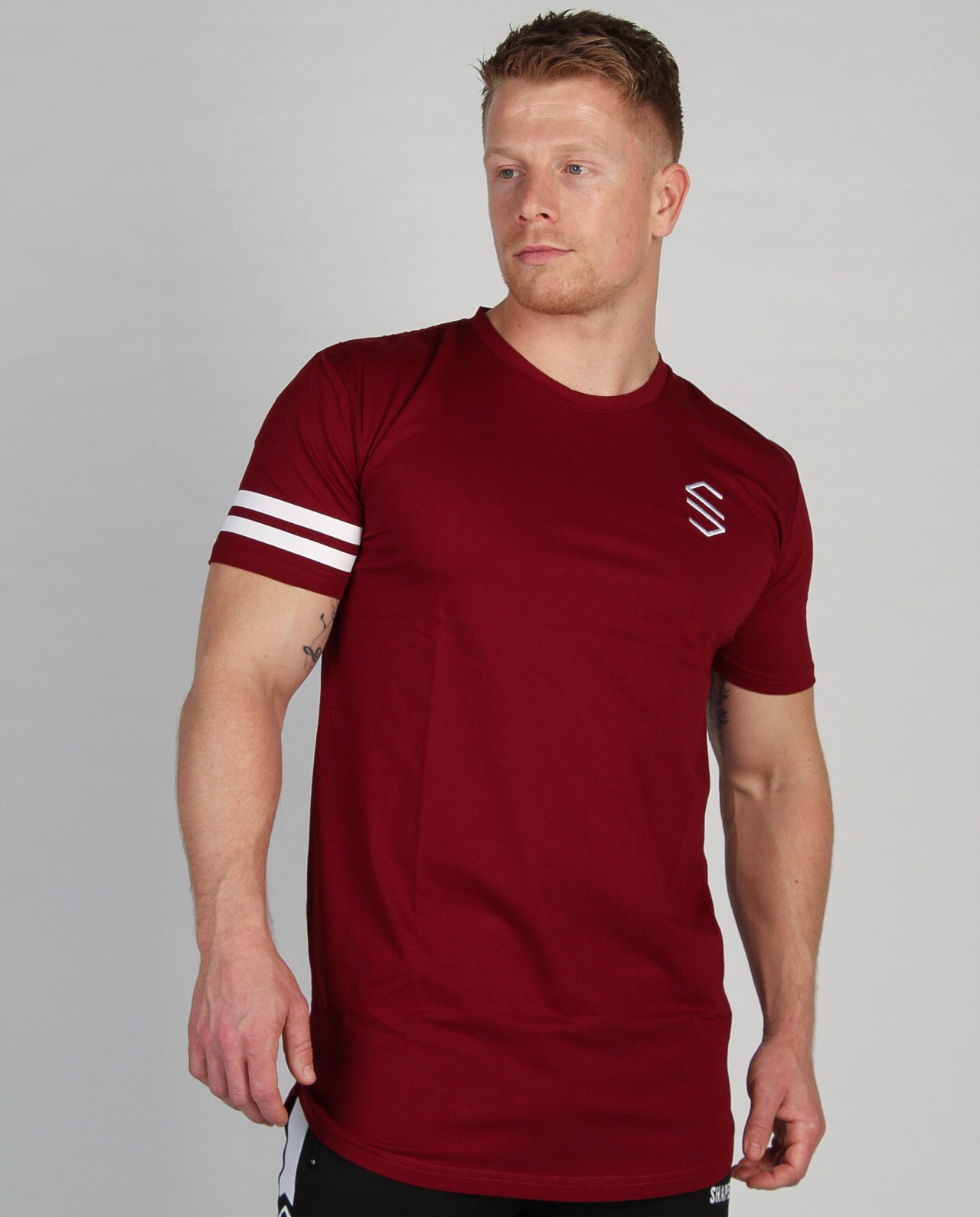 Shaped Striped T-shirt Burgundy