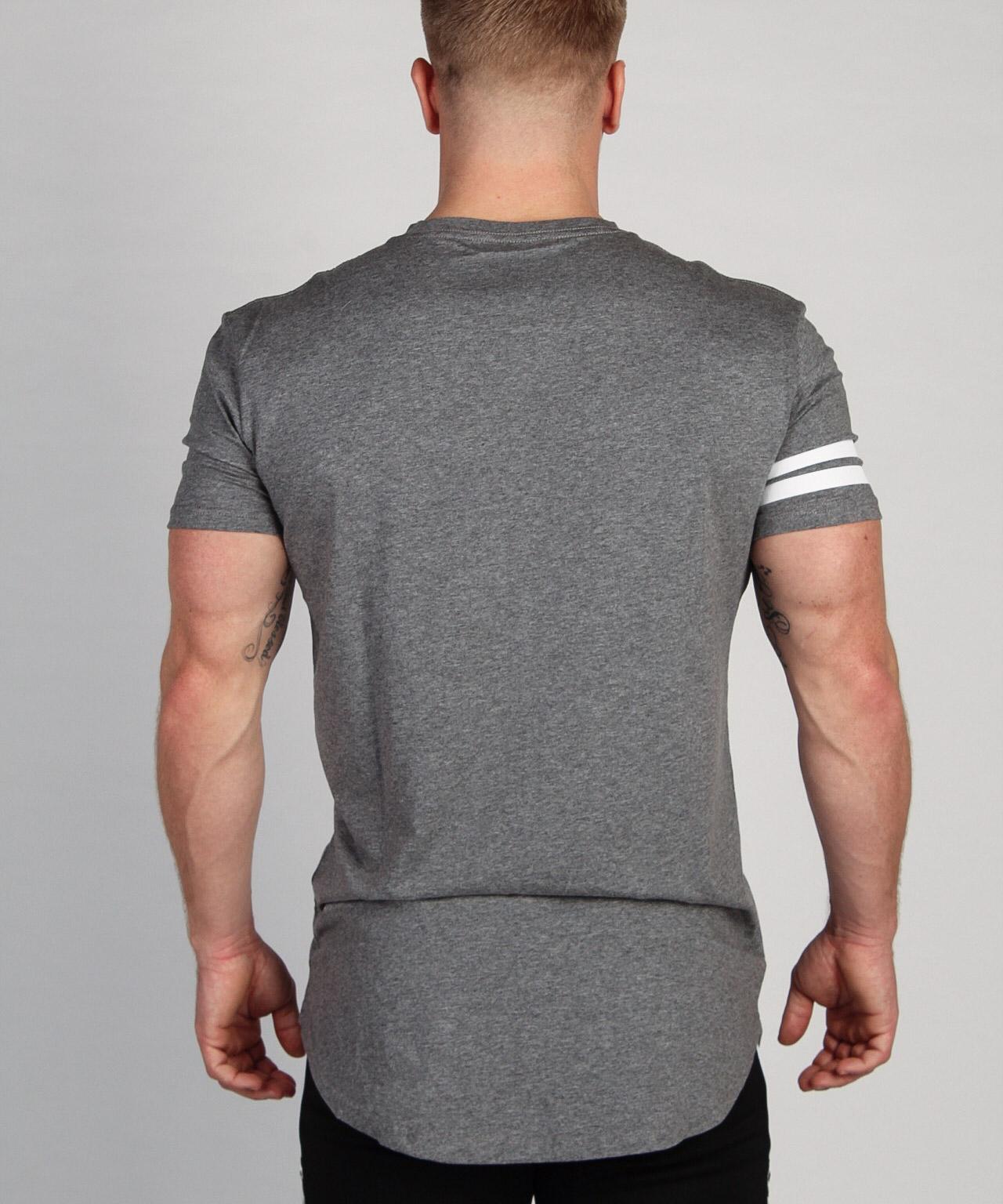 Shaped Striped T-shirt Grijs
