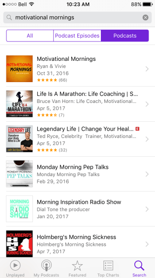 Examples of motivational morning podcasts