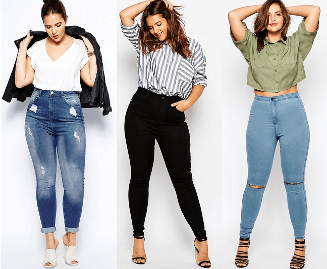 Image result for high waisted jeans plus size outfit
