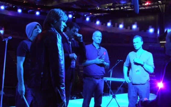 Sound check at Dublin's O2: Spandau Ballet on stage together for the first time in two decades. At centre, production manager Lars. Picture © by Shapersofthe80s