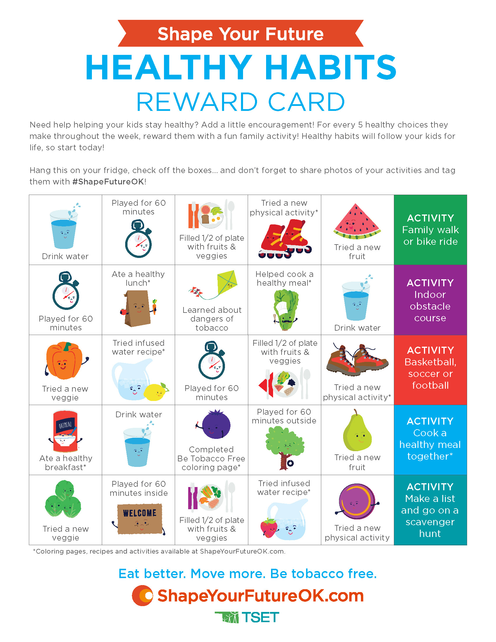 Healthy Habits Reward Card