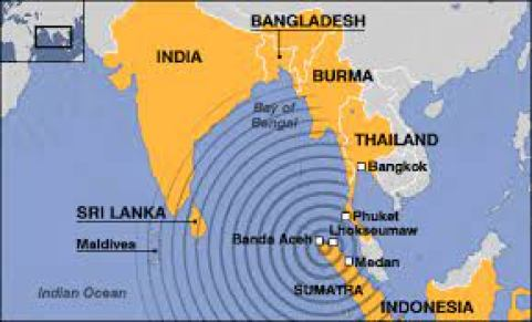 Tsunami in India - Map indicating the spot.