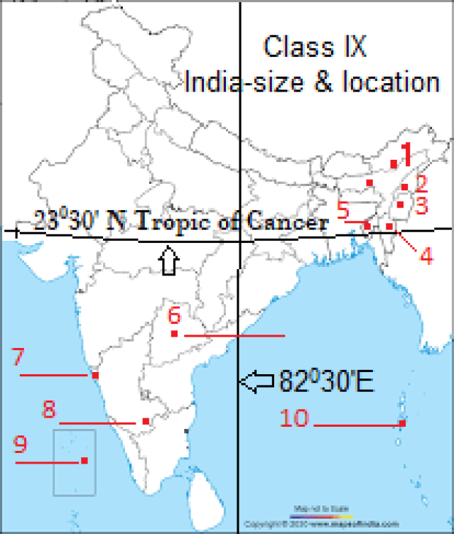 Class IX India - Size and location Term I Map work