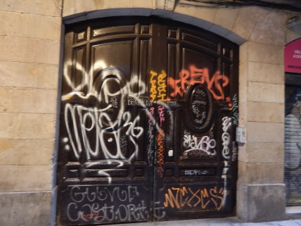 Paint on a door.