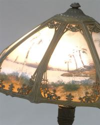 Reverse Painted Slag Glass Table Lamp at 1stdibs