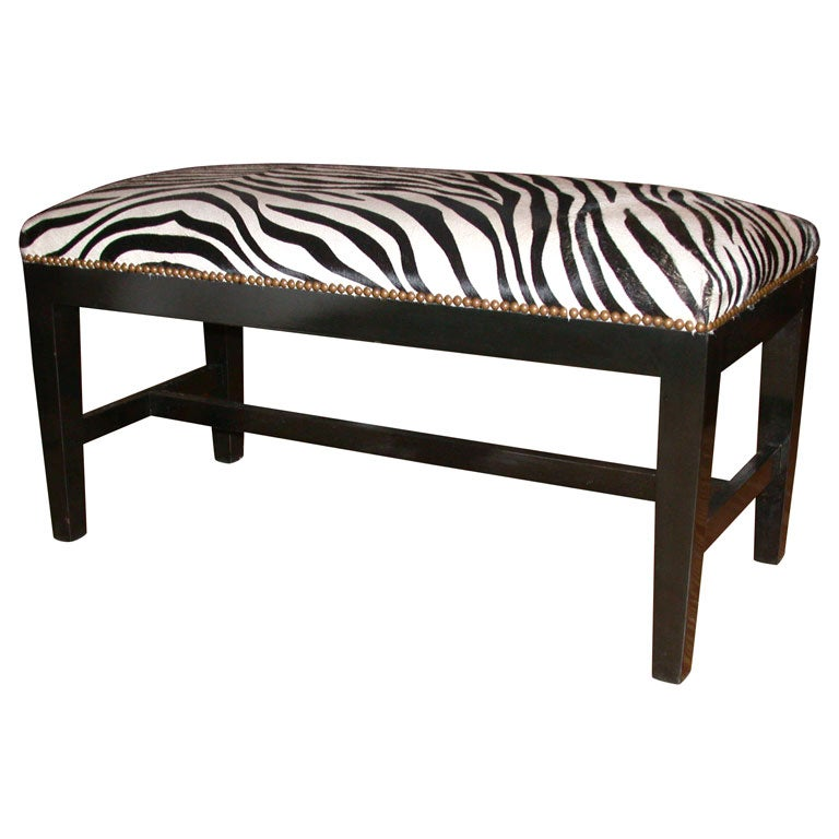Zebra Bench With Stamped Cowhide And Ebonized Walnut At