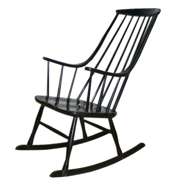 black lacquered rocking chair at 1stdibs