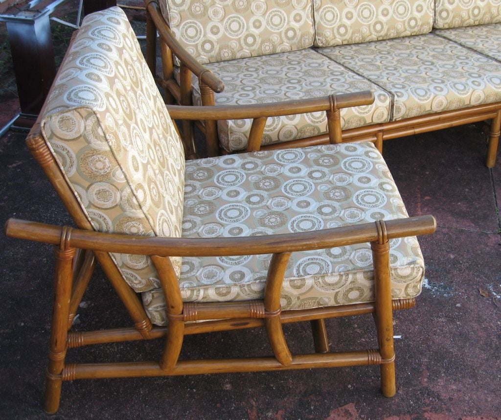 Mid Century Modern Rattan Sofa and Chair Group at 1stdibs