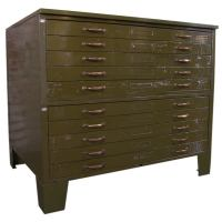 Vintage Industrial Metal Flat File Cabinet at 1stdibs