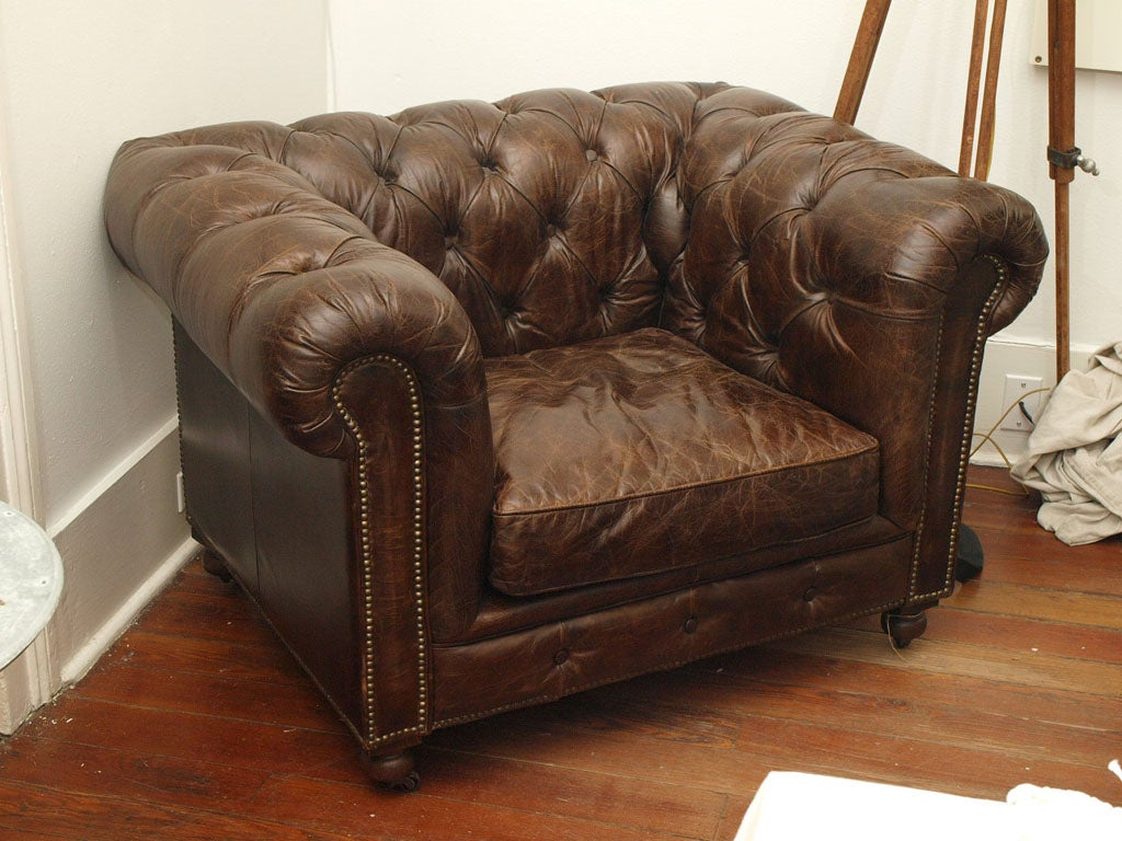 fixing a broken sofa arm biro on leather belgian chair chesterfield style at 1stdibs