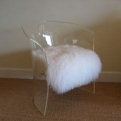 Mongolian Fur Chair Cover Lorell Executive High Back Vladimir Kagan Lucite And Lamb Side At 1stdibs