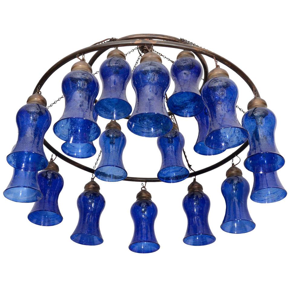 Egyptian Hand Blown Cobalt Blue Glass Chandelier