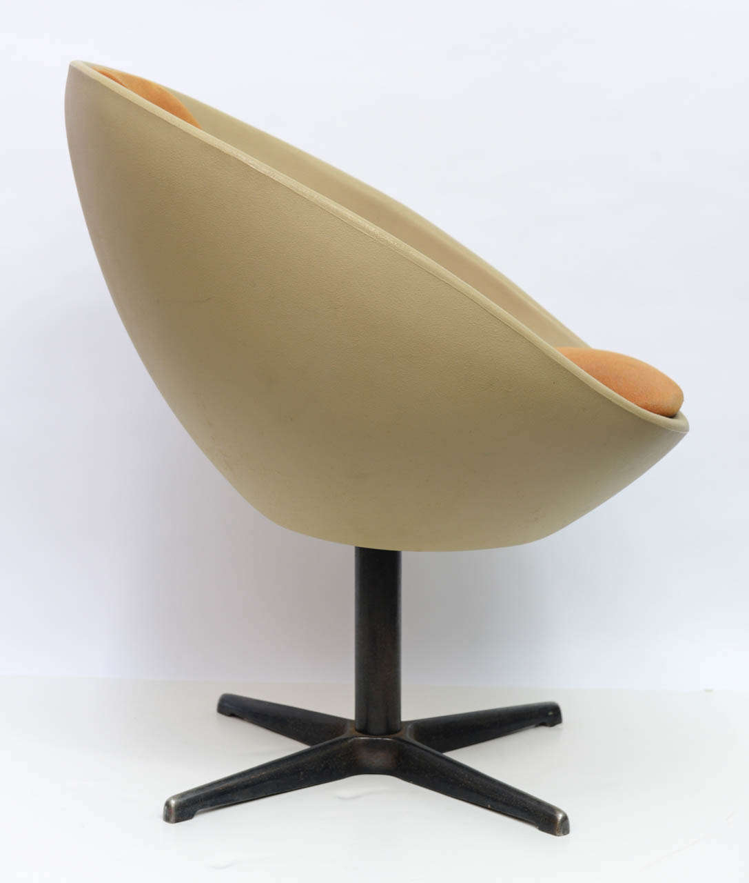egg desk chair wingback leather 1960s ball swivel at 1stdibs