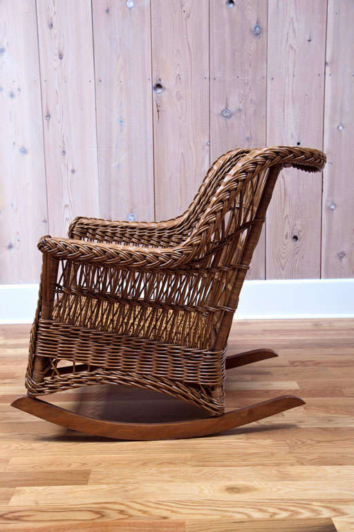 Heywood Wakefield Wicker Rocker at 1stdibs