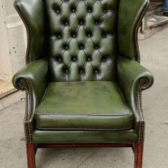 Leather Wingback Chairs Vanity With Backs Pair Of English Green At 1stdibs