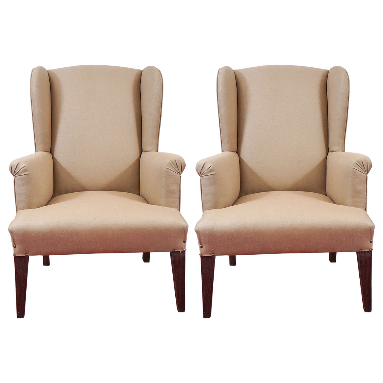 colonial wingback sofas tan leather sofa bed pair of chairs at 1stdibs